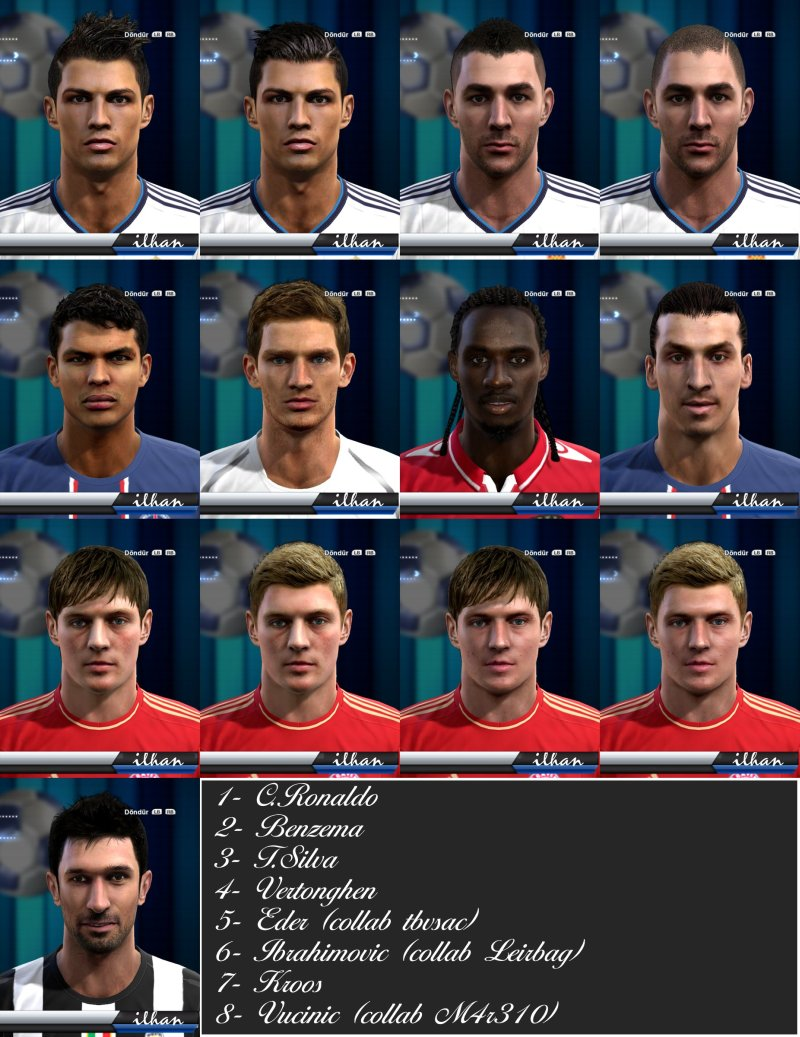 pes 2013 face pack ilhan