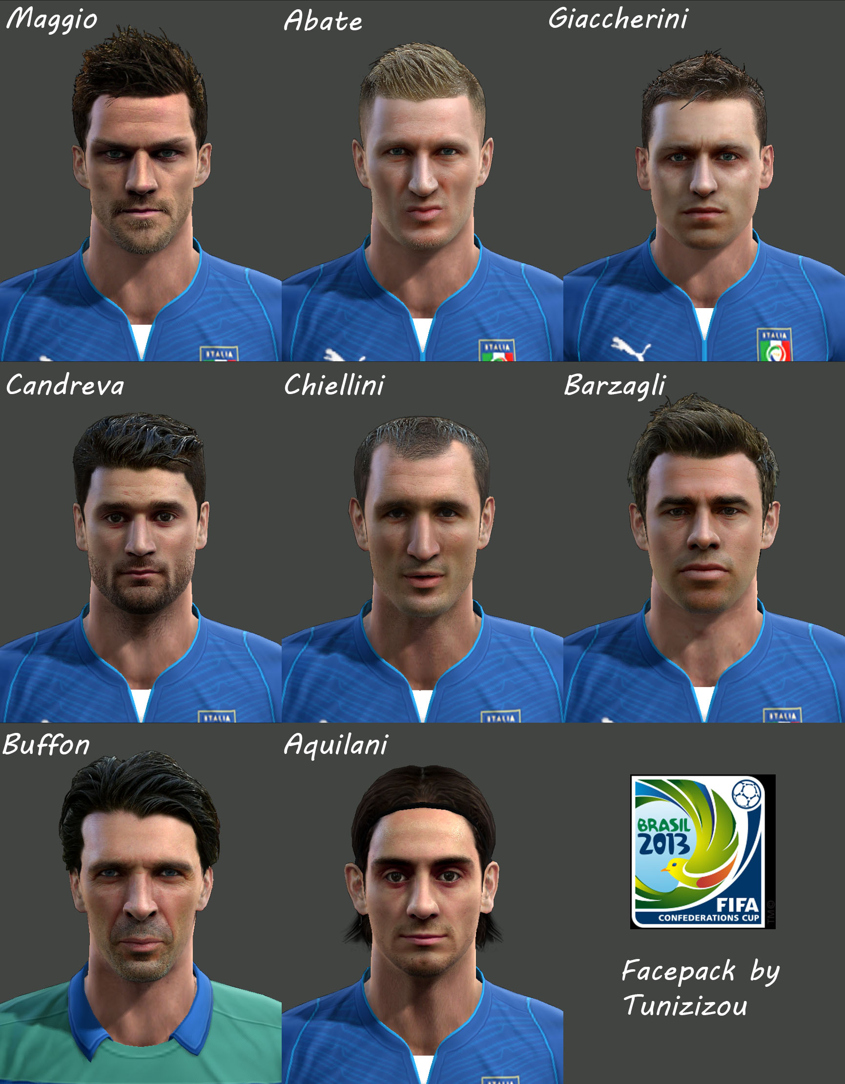 pes 2013 italy confederation cup face pack